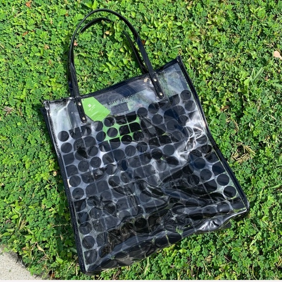 kate spade black and clear vinyl griffen tote bag!